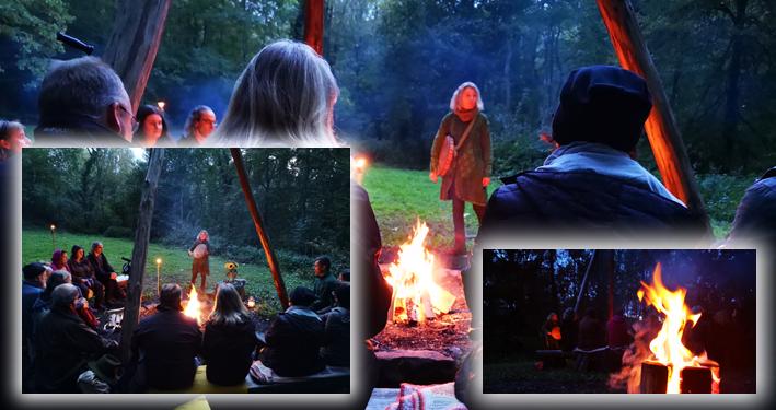 Märchenerzählerin im Wald am Lagerfeuer